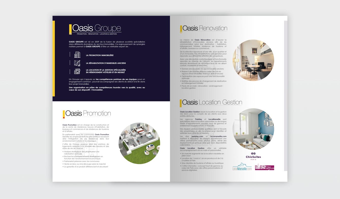 Plaquette de société immobilière (pages intérieures) - Oasis Groupe