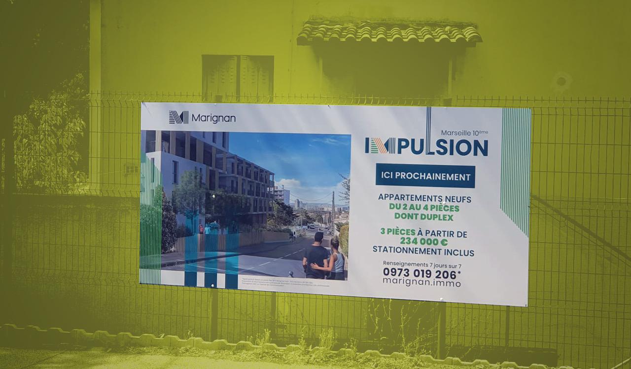 Panneau de chantier programme immobilier IMPULSION